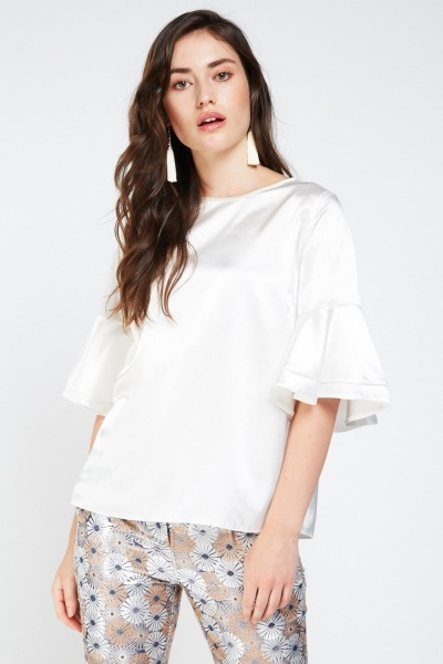 e865376e56a10f Frilly Layered Sateen Top - 3 Colours - Just £5