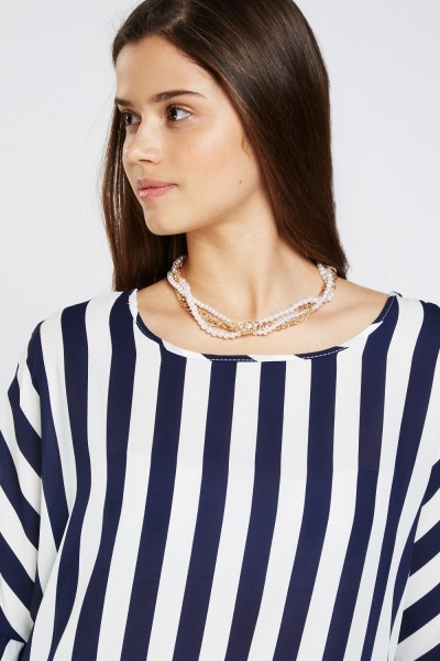 Frilly Striped Peplum Top