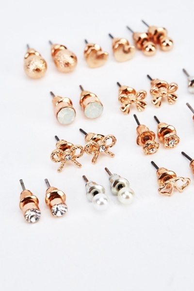 Pack Of 12 Mixed Studded Earrings