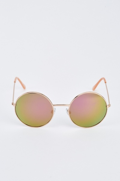 Round Eye Rose Gold Sunglasses
