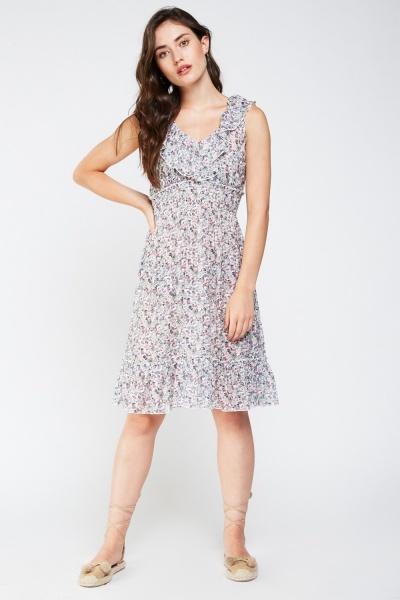 Calico Printed Frilly Mini Dress Light Blue Multi Or