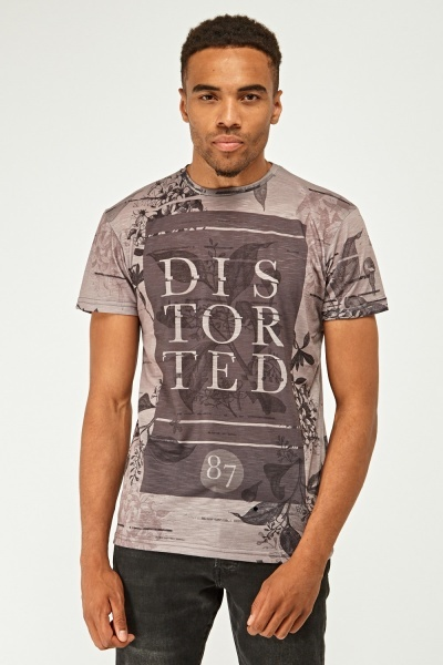 Contrasted Print Mens T-Shirt