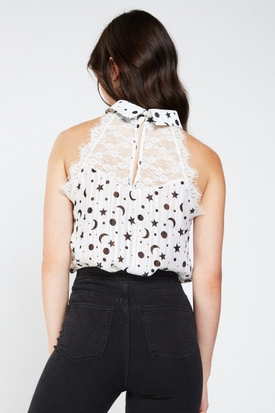 Contrasted Printed Sleeveless Blouse
