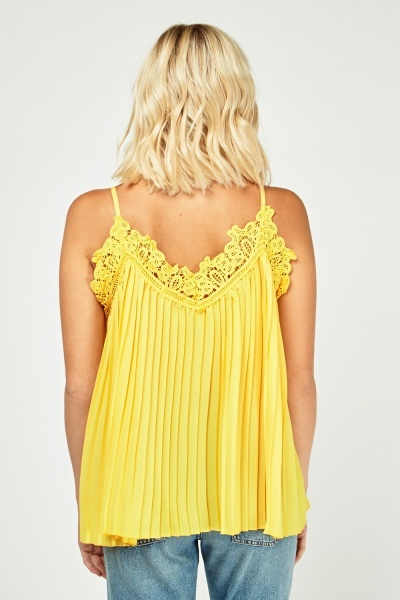 Crochet Insert Pleated Cami Top