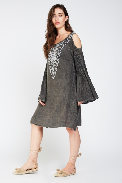 Embroidered Frilly Crinkled Tunic Dress