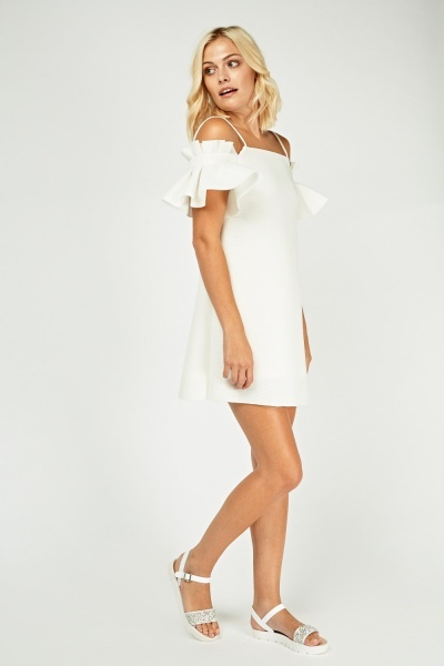 Metallic Frilly Cut Out Sleeve Dress