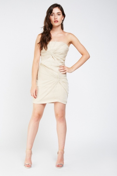 Metallic Ruched Bandeau Mini Dress