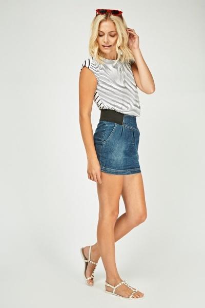 Mini Box Pleated Denim Skirt