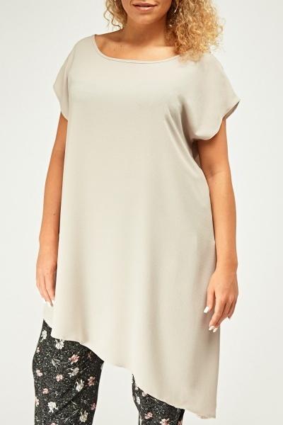 Sheer Asymmetric Light Grey Top