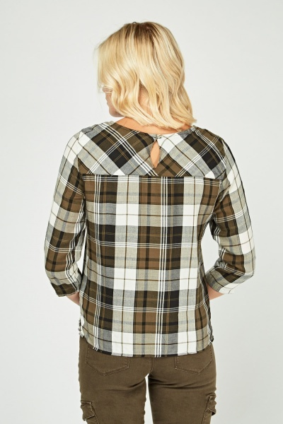 Single Pocket Front Tartan Blouse