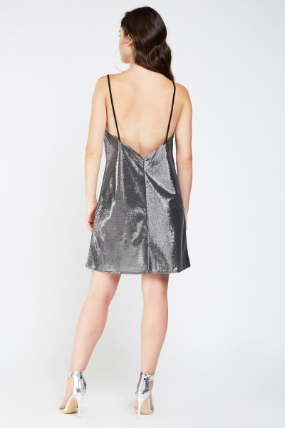 Textured Metallic Slip-On Dress