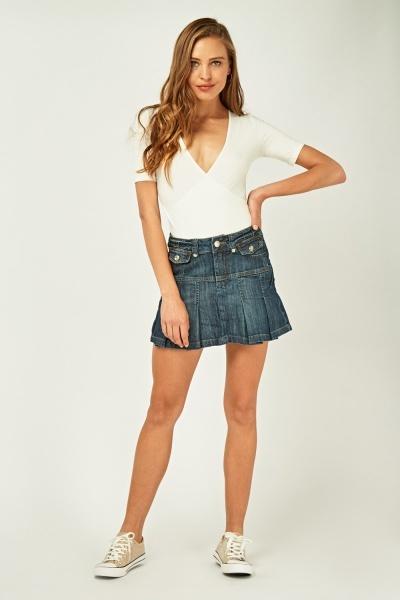 Encrusted Pleated Denim Skirt