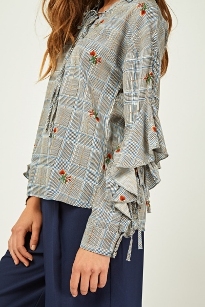 Floral Plaid Contrast Frilly Blouse