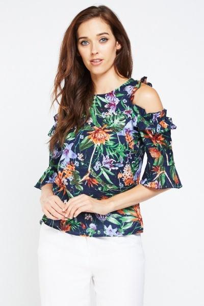 Floral Printed Cut Out Sleeve Top
