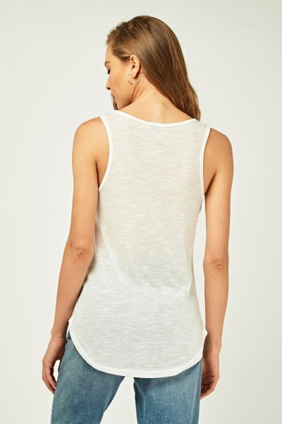 Knitted Patch Applique Vest Top