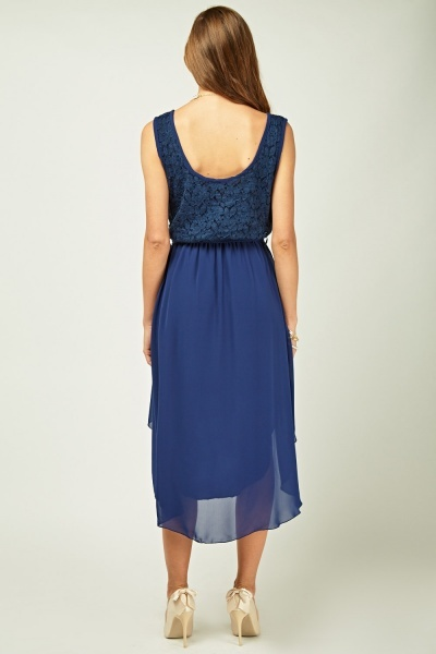 Lace Chiffon Contrast Dip Hem Dress