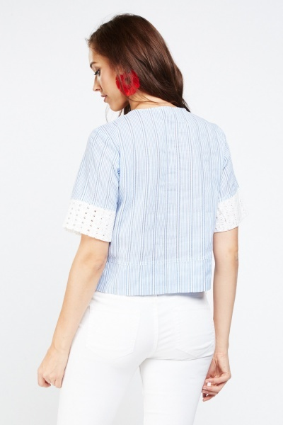 Lace Up Broderie Stripe Top
