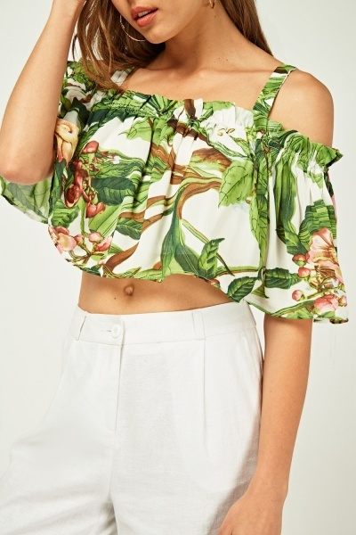 Printed Gathered Crop Top