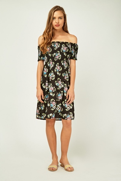 Printed Off Shoulder Shirred Dress