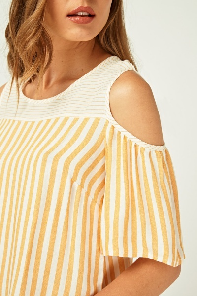 Striped Frilly Cold Shoulder Top