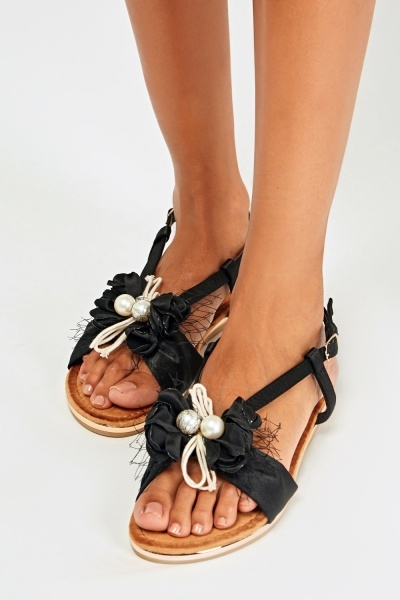 Detailed Sateen Flat Sandals