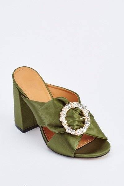 Embellished Buckle Sateen Block Heels