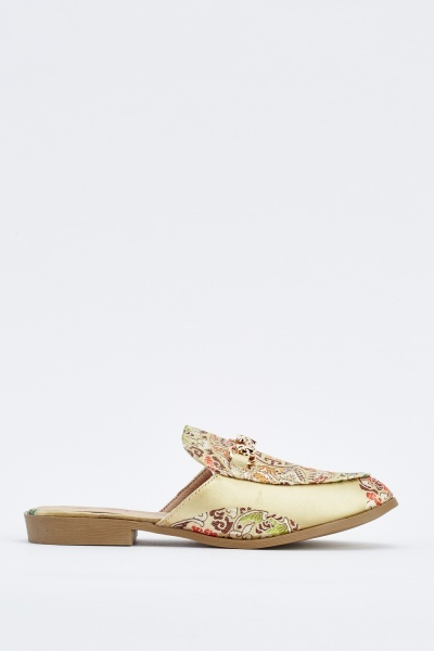 Embroidered Sateen Slip On Shoes