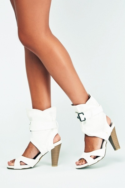 Faux Leather Buckled Cut Out Boots