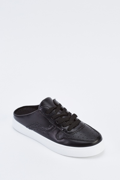 Faux Leather Slip On Trainers