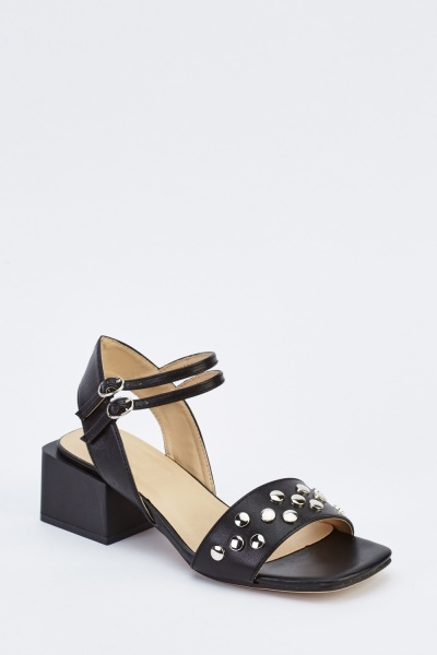 Faux Leather Studded Heeled Sandals