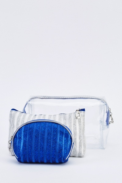 Transparent And Metallic Cosmetic Bag Set