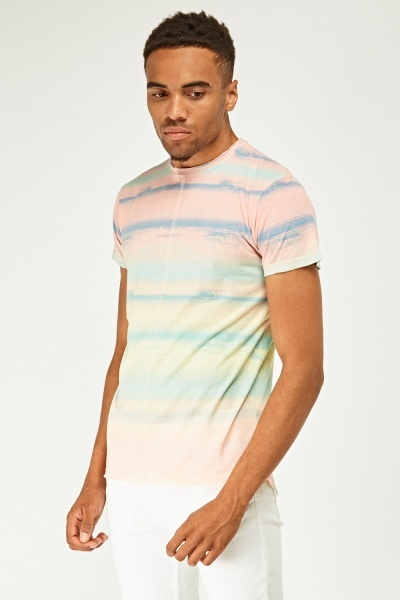 Faded Tie Dye Print T-Shirt