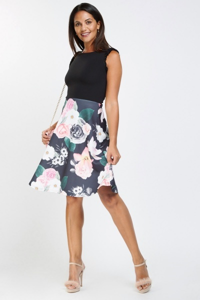 Floral Print Contrasted Flared Dress