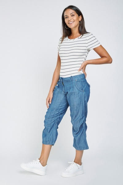 Low Rise Ruched Crop Trousers