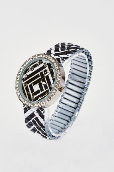 Mono Printed Elastic Watch