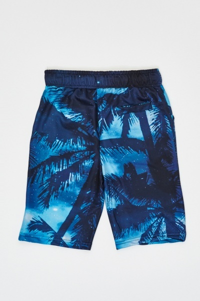 Palm Tree Graphic Print Shorts