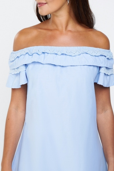 Ruffle Broderie Off Shoulder Dress