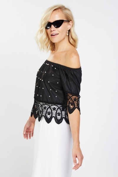 Crochet Embellished Off Shoulder Top