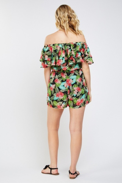 Printed Ruffle Overlay Playsuit