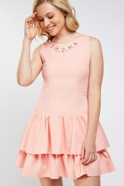 Ruffled Hem Mini Tiered Dress Pink Just 163 5