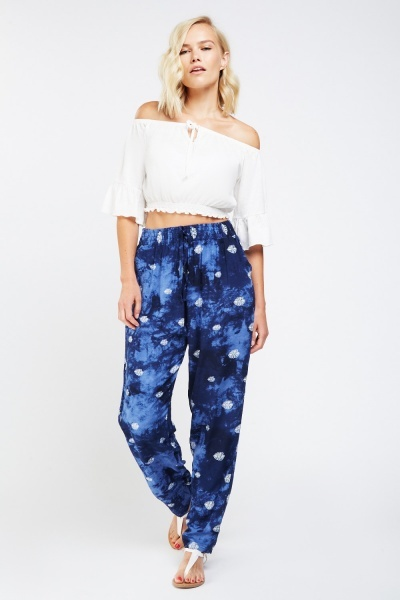 Tie Dye Printed Tapered Trousers