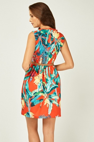 Tropical Floral Print Swing Dress