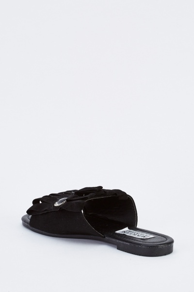 Embellished Cut Out Suedette Slides