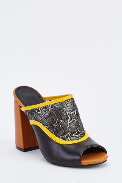 Embroidered Mesh Block Heel Mules