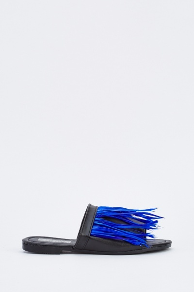 Feather Trim Slide Sandals