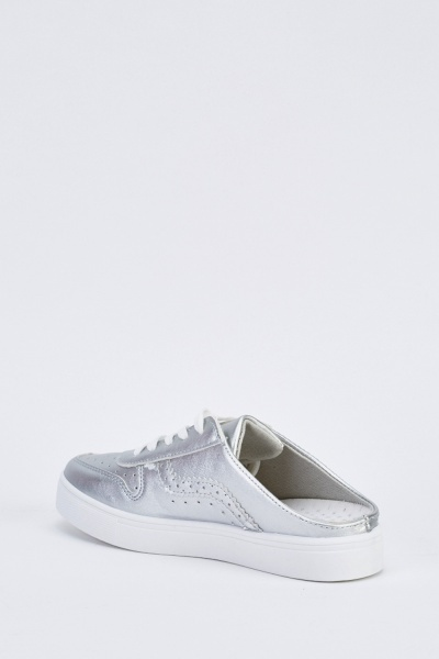 Open Back Metallic Plimsolls