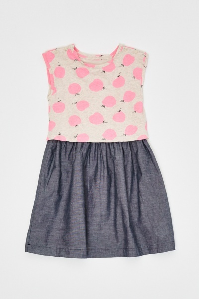 Apple Print Contrasted Frilly Dress