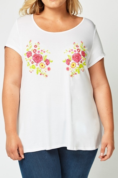 Casual Floral Embossed T-Shirt