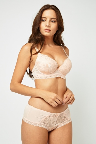 Lace Insert Balconette Bra And Brief Set