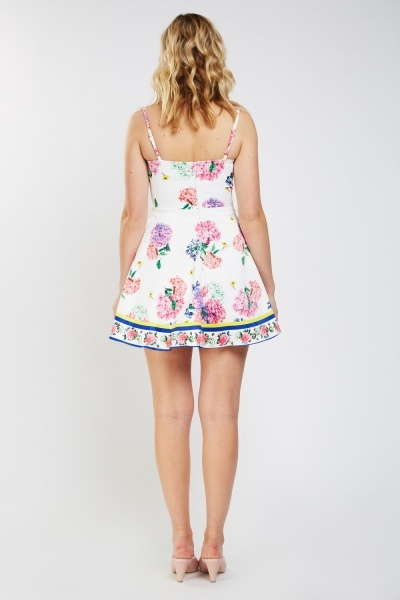 Printed Sweetheart Frilly Skater Dress